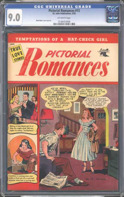 CGC Graded Comics - Pictorial Romances #13 (CGC) - Temptations - Hat-check Girl - Baby - Married Woman - Wild Crowd