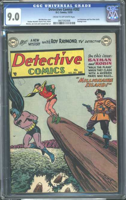 CGC Graded Comics - Detective Comics #202 (CGC) - Batman And Robin - Walk The Plank - Pirate - Gun - Millionaire Island