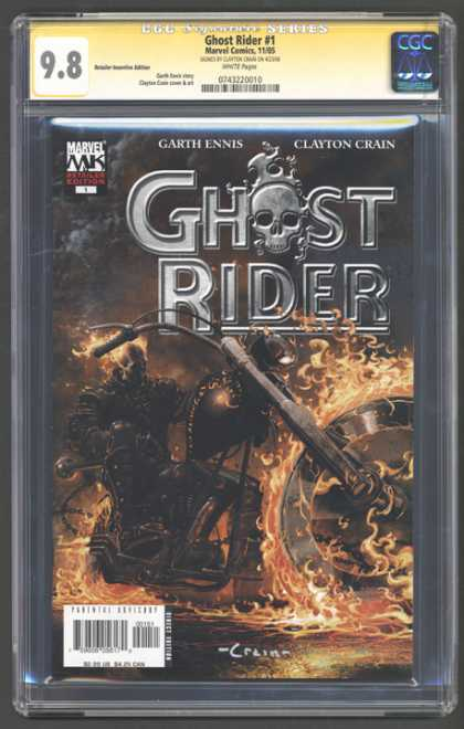 CGC Graded Comics - Ghost Rider #1 (CGC) - Marvel - Garth Ennis - Clayton Crain - Skull - Fire