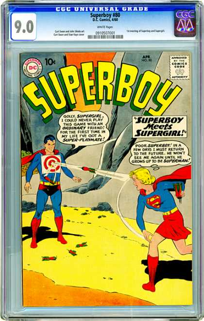 CGC Graded Comics - Superboy #80 (CGC) - Superboy Meets Supergirl - Match Made In Heaven - Nothing Lasts Forever - Dangerous Play - Superfriends Forever