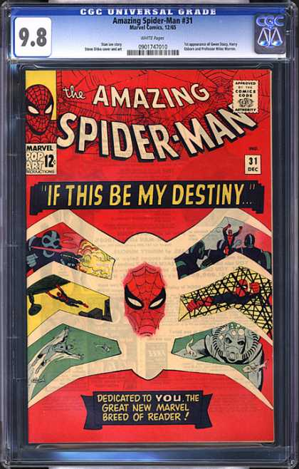 CGC Graded Comics - Amazing Spider-Man #31 (CGC) - Spiderman - Spidermans Villains - Red Mask - Spiderman Jumping - Spiderman Fighting