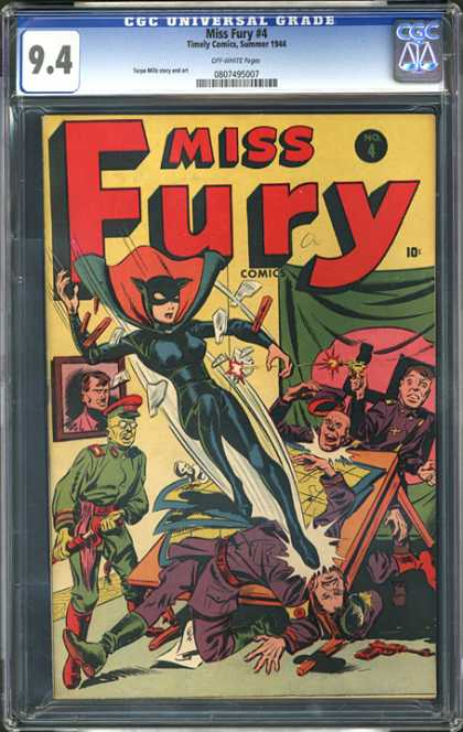 CGC Graded Comics - Miss Fury #4 (CGC) - Miss Fury - Kick - Police - Table - Picture