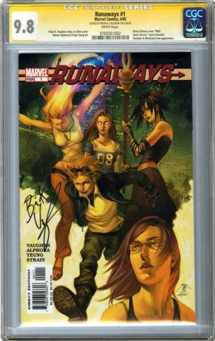 CGC Graded Comics - Runaways #1 (CGC) - Staff - Leather Jacket - Sunglass In Hair - Girl Jumping - 8
