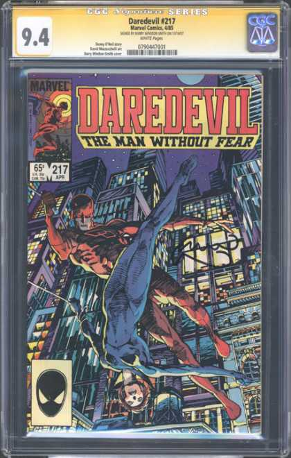 CGC Graded Comics - Daredevil #217 (CGC) - Cityscape - Daredevil 217 - Marvel Comics - The Man Without Fear - Flying Heroes