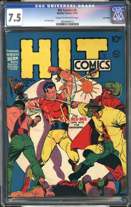 CGC Graded Comics - Hit Comics #6 (CGC) - Swordsmen - Masked Men - Red Bee - Yellow Pants - Four Against One