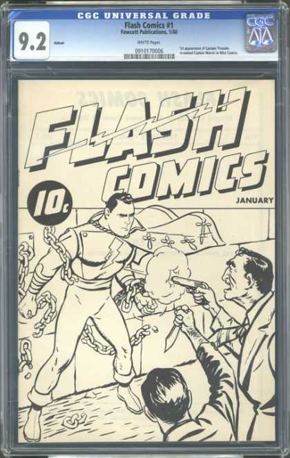 CGC Graded Comics - Flash Comics #1 (CGC) - 10 Cents - January - Chains - Black And White - Flash