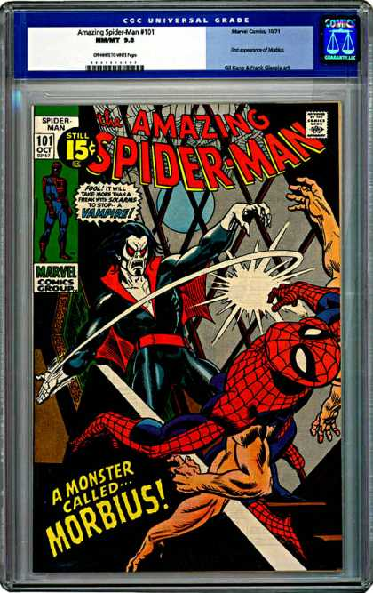 CGC Graded Comics - Amazing Spider-Man #101 (CGC) - The Amazing Spider-man - Marvel - Comics Code - A Monster Calledmorbius - Battle