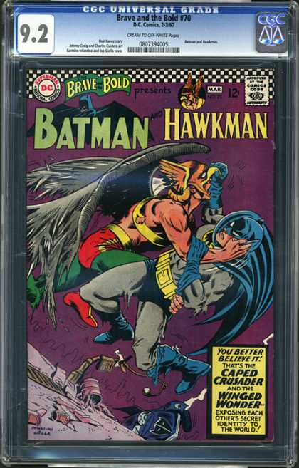 CGC Graded Comics - Brave and the Bold #70 (CGC) - Caped Crusader - Winged Wonder - Hawkman - Batman - Identity