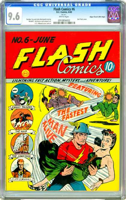 CGC Graded Comics - Flash Comics #6 (CGC) - Flash - The Fastest Man Alive - The Hawkman - Johnny Thunder - The Whip
