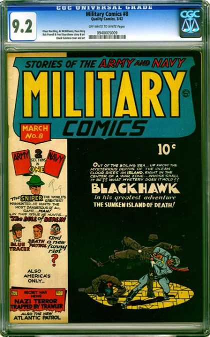 CGC Graded Comics - Military Comics #8 (CGC) - Stories Of The Army And Navy Military Comics - Army And Navy Are Fighting - Black Hawk - The Sunken Island Of Death - March No8
