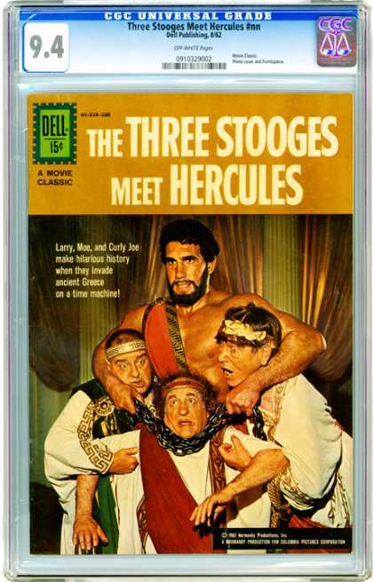 CGC Graded Comics - Three Stooges Meet Hercules #nn (CGC) - Larry Moe And Curly Joe - Make Hilarious History - Ancient Greece - Live Action Photo - Curtains