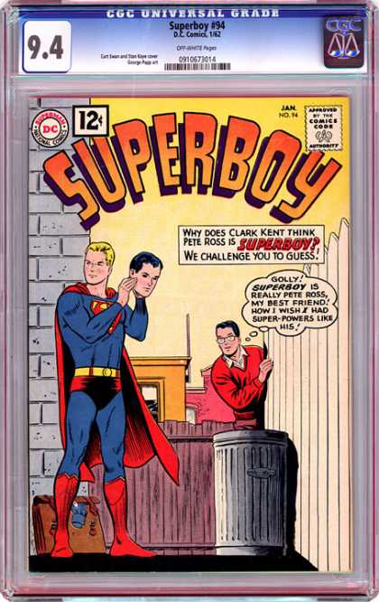 CGC Graded Comics - Superboy #94 (CGC) - Mask - Clark Kent - Pete Ross - Superman - Disguise
