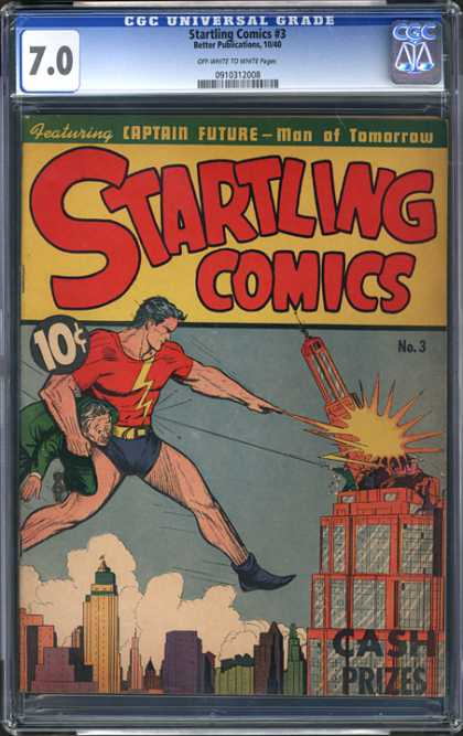 CGC Graded Comics - Startling Comics #3 (CGC) - Captain Future - Man Of Tomorrow - Cash Prizes - Destroyed Building - Holding Man