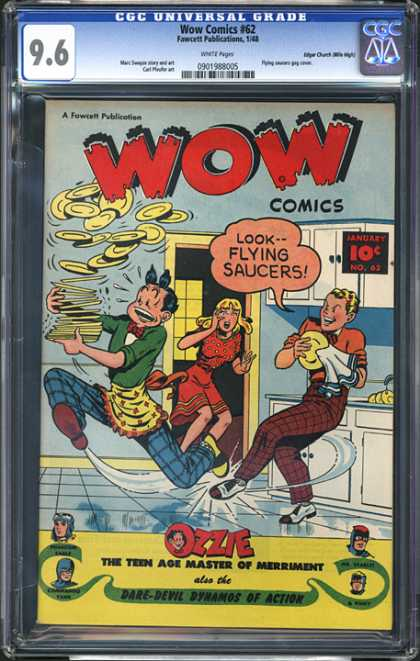 CGC Graded Comics - Wow Comics #62 (CGC) - Dishes - Flying Saucers - Tripping - Falling - Kitchen