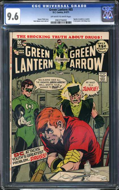 CGC Graded Comics - Green Lantern #85 (CGC) - Green Lantern - Green Arrow - Junkie - Dc Attacks Youths Greatest Problem Drugs - The Shocking Truth About Drugs