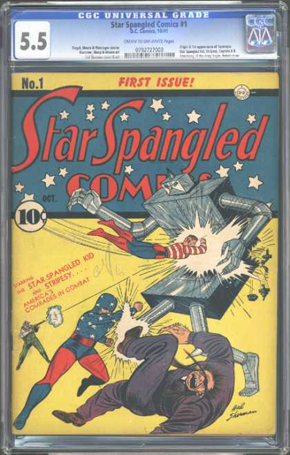 CGC Graded Comics - Star Spangled Comics #1 (CGC) - Star Spangled Kid - Stripesy - Star Spangled Comics - Robot - First Issue