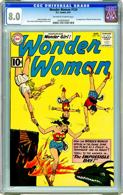 CGC Graded Comics - Wonder Woman #124 (CGC) - Wonder Owman - Wonder Girl - August - 124 - The Impossible Day