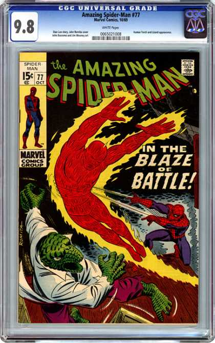 CGC Graded Comics - Amazing Spider-Man #77 (CGC) - Spiderman - In The Blaze Of Battle - Fire - 877 - 0ct 19t77