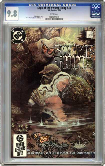 CGC Graded Comics - Saga of the Swamp Thing #34 (CGC) - Swamp Thing 34 - Alan Moore - White Hair - Lake - Butterfly
