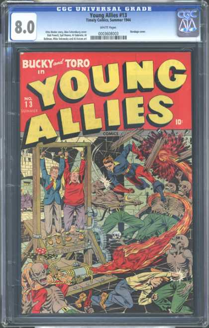 CGC Graded Comics - Young Allies #13 (CGC) - Young Allies - Bucky And Toro - Skeleton - The Stretcher - Rescue