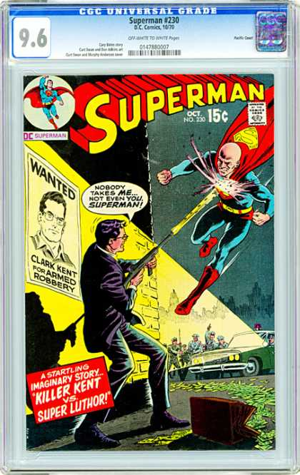 CGC Graded Comics - Superman #230 (CGC) - Super Powers - Machine Gun - Wanted Poster - Police Officers - Bad Guy