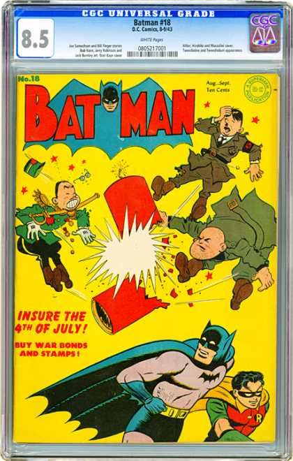 CGC Graded Comics - Batman #18 (CGC) - Batman - Firework - Hitler - Robin - Red Stars