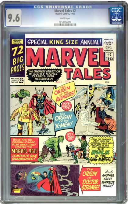 CGC Graded Comics - Marvel Tales #2 (CGC) - The Origin Of The Avengers - Origin Of X-men - Hulk - Ringmaster - Doctor Strange