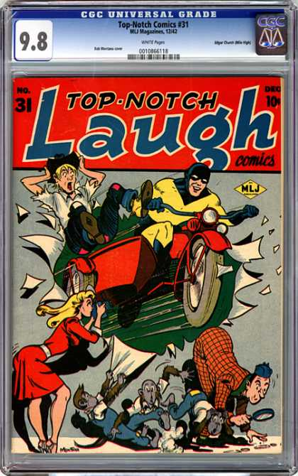 CGC Graded Comics - Top-Notch Comics #31 (CGC) - Magnifying Glass - Motorcycle - Side Car - Girl - Camera