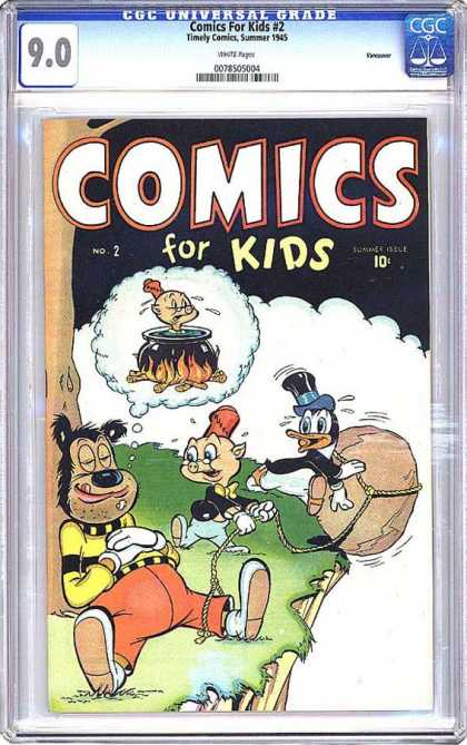 CGC Graded Comics - Comics For Kids #2 (CGC) - Nice Picture - Dreaming - Throwing Stone - Huge Plane - Funny Figures