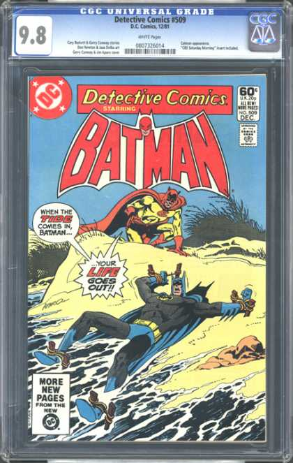 CGC Graded Comics - Detective Comics #509 (CGC) - 60c - All New Wide Pages - No 509 Dec - When The Tide Comes In Batman Your Life Goes Out - More New Pages From The New Dc