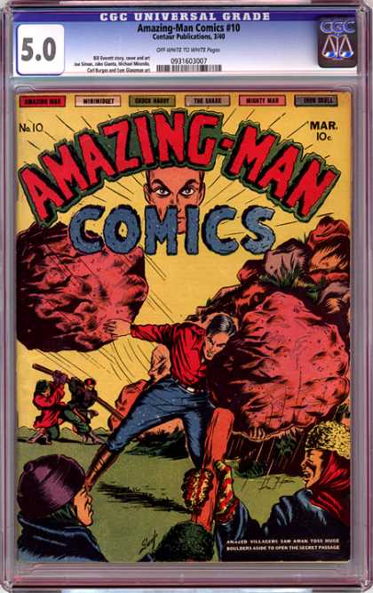 CGC Graded Comics - Amazing-Man Comics #10 (CGC) - Amazing-man - Rocks - March - No 10 - Red Shirt
