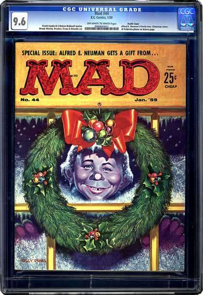 CGC Graded Comics - Mad #44 (CGC) - Jan 59 - Wreath - Holly - Gift - Red Bow