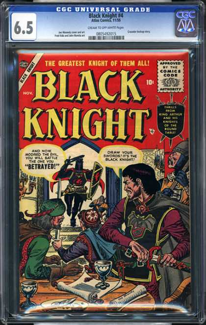 CGC Graded Comics - Black Knight #4 (CGC) - Black Knight - Atlas Comics - 65 - Approved By The Comics Code Authority - Betrayed