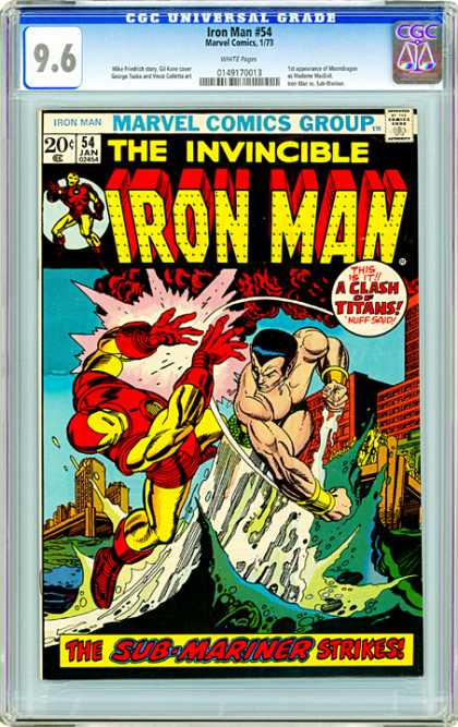 CGC Graded Comics - Iron Man #54 (CGC) - This Is It A Clash Of Titans Nuff Said - Pier - Punch - Water - The Sub-mariner Strikes