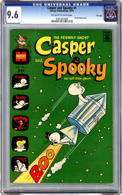 CGC Graded Comics - Casper and Spooky #1 (CGC) - Casper And Spooky - Friendly Ghost - Green - Harvey Comics - Wendy