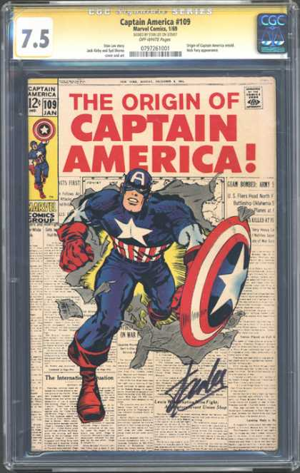 CGC Graded Comics - Captain America #109 (CGC) - Captain America - Newspaper - Shield - Red Stripes - White Star