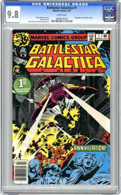 CGC Graded Comics - Battlestar Galactica #1 (CGC) - Cylon Raiders - Attacking With Lasers - People Fleeing - Explosions - Annihilation