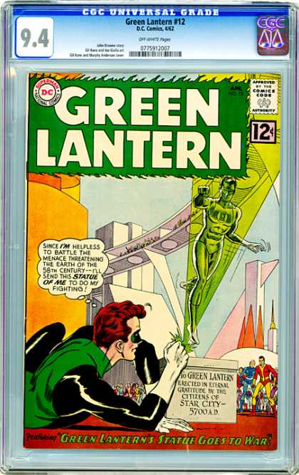 CGC Graded Comics - Green Lantern #12 (CGC) - Star City - Future - 58th Century - Statue - Fighting