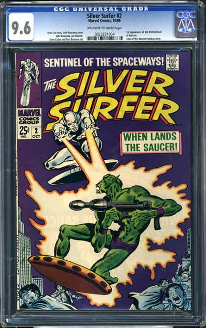 CGC Graded Comics - Silver Surfer #2 (CGC) - Surf Fight - Surf Aliens - Space Fighters - Space Blast - Green Vs White