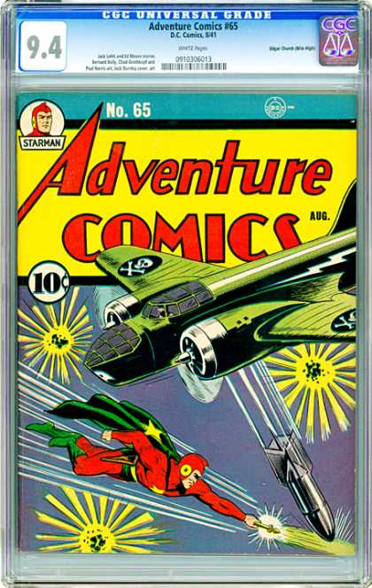 CGC Graded Comics - Adventure Comics #65 (CGC) - Adventure Comics - Plane - Bomb - Cape - Green