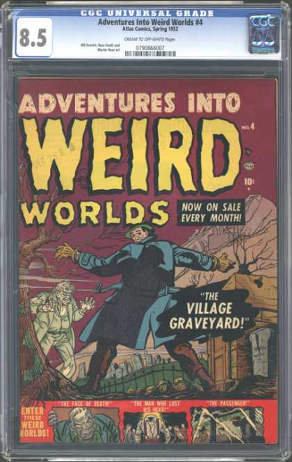 CGC Graded Comics - Adventures Into Weird Worlds #4 (CGC) - Weird Worlds - Man - Zombie - Now On Sale Every Month - Graveyard