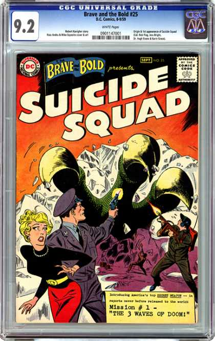 CGC Graded Comics - Brave and the Bold #25 (CGC) - Cop - Woman - Gun - Claw - Glaciers