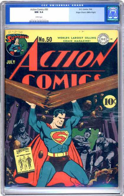 CGC Graded Comics - Action Comics #50 (CGC) - Action Comics - Superman - Broken Beam - Trapped Miners - Dc Comics