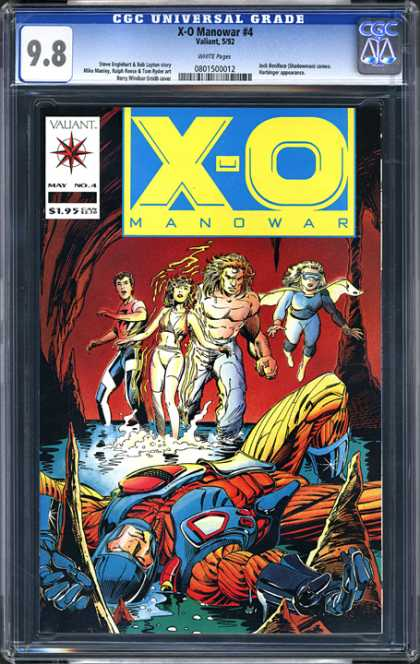 CGC Graded Comics - X-O Manowar #4 (CGC) - X-o Manowar 4 - X-o Manowar - Fying Woman - Shirtless Beastman - Flame Woman