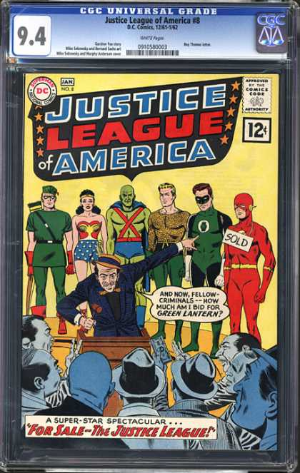 CGC Graded Comics - Justice League of America #8 (CGC) - Gavel - Podeum - Money - Gray Men - Selling Heros
