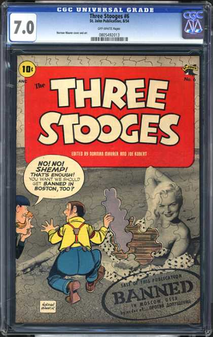 CGC Graded Comics - Three Stooges #6 (CGC) - Three Stooges - Banned - Boston - Joe Kubert - Moscow