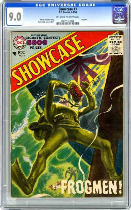 CGC Graded Comics - Showcase #3 (CGC) - Gigantic Contest - Superman National Comics - Approved By The Comics Code - Frogmen - Submarine
