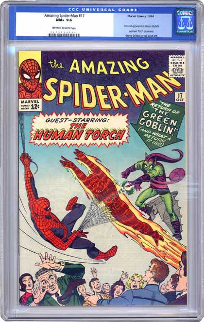 CGC Graded Comics - Amazing Spider-Man #17 (CGC) - Spiderman - Green Goblin - The Human Torch - Crowd - Web