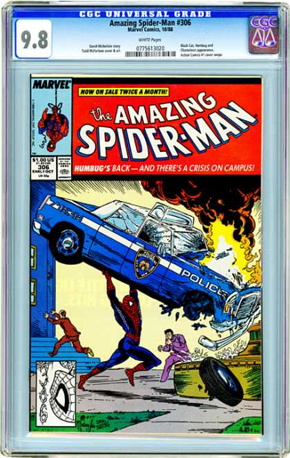 CGC Graded Comics - Amazing Spider-Man #306 (CGC) - Police Car - Explosion - Throw - Humbug - Crisis On Campus