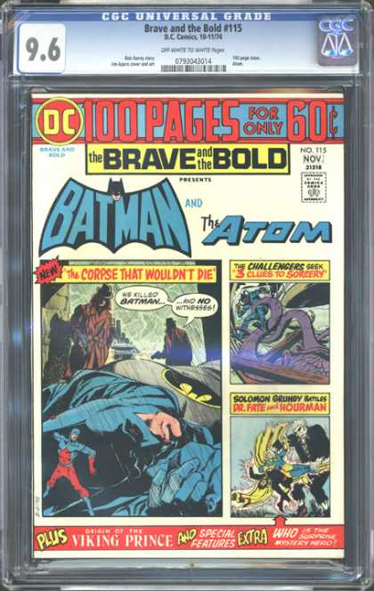 CGC Graded Comics - Brave and the Bold #115 (CGC) - The Atom - Corpse That Wouldnt Die - Brave And The Bold - Challenges - We Killed Batman